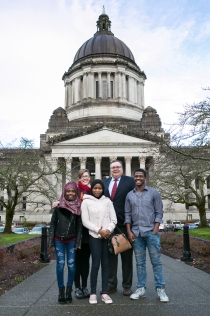 Rep. Volz with guests at the Washington State Capitol in Olympia, Jan. 23, 2018.